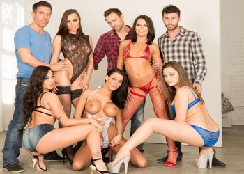 Las actrices porno más zorras en una orgía muy dura