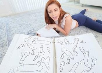 La pilla dibujando pollas y decide ayudarla con su obsesión