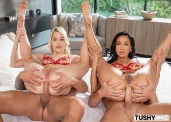 Un cuarteto sexual con mucho sexo anal y doble penetración